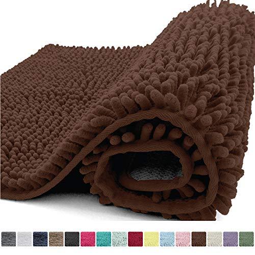 Kangaroo Plush Luxury Chenille Bath Rug, 36x24, Extra Soft and Absorbent Shaggy Bathroom Mat Rugs, Washable, Strong Underside, Plush Carpet Mats for Kids Tub, Shower, Bathtub and Bath Room, Brown