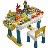 burgkidz Kinder Tisch- und Stuhlset mit 135-teiligen großen Bausteinen, extra großem Spieltisch für Jungen und Mädchen Bauen & Bauen, Zeichnen & Essen, Basteln & Hausaufgaben
