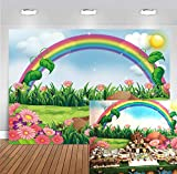 Cartoon Spring Photography Backdrop Enchanting Garden with Rainbow Sun Flowers Background Kids Children Birthday Party Baby Shower Decoration Photoshoot Props 7x5FT