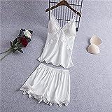 Conjuntos de Batas de Mujer Ropa de Dormir de satén Nupcial Regalo de Boda Ropa de Dormir Kimono Informal Albornoz Vestido de lencería íntima camisón-D White 2-2-M