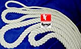 Tyagi Craft® 16-mm-Seil aus 100 % Baumwolle, weiß