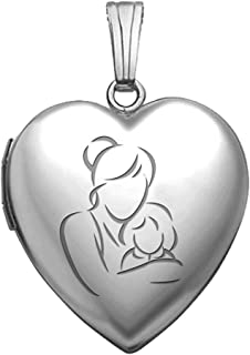 PicturesOnGold.com Sterling Silver Mom and Daughter Heart Locket Pendant Necklace 3/4 Inch X 3/4 Inch