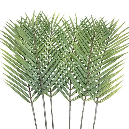 """Aisamco 6 Stück Faux Palmblätter Palmwedel Künstliche Tropische Palmblätter Palmblatt Faux Monstera Blätter 29""""in Hoch für Zuhause Hochzeit Palm Hawaiian Leaves Dekorationen"""