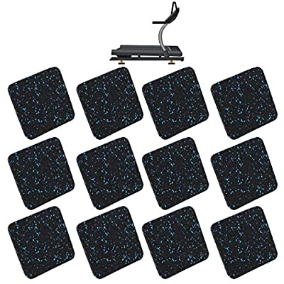 4'' x 4'' x 0.5'' Square Home Gym Exercise Equipment Mat with Anti-Sliding Floor Grip | Customer Trusted Treadmill Mat and Floor Protectors | Made of Shock Absorbent Recycled Rubber (Set of 12)