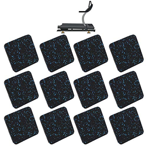 """AR-PRO (12 Pack) Exercise Equipment Mats - 4"""" x 4"""" x 0.5"""" Anti-Slip, Shock Absorbent Rubber Floor Protective Mats Perfect for Treadmills, Elliptical Trainers, Rowing Machines, and Stationary Bikes"""