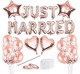 Decoración de Boda con Globos,Just Married Banner,Just Married Decoracion,Globos Rosa Gold para Decoracion de Matrimonio y Accessorios