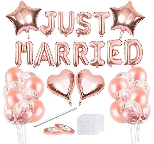 Decoración de Boda con Globos,Just Married Banner,Just Married Decoracion,Globos Rosa Gold para...