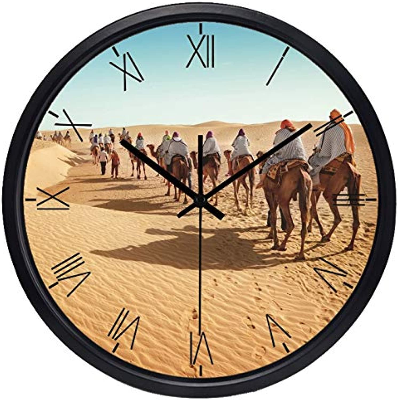 ofrecemos varias marcas famosas ZBBSHOP Reloj de Parojo Parojo Parojo Popular Medio Oriente Desierto Camello Sala de Estar Reloj de Parojo Decoración para el hogar Cristal Personalizado Reloj Ultra silencioso 30cm  descuento de bajo precio