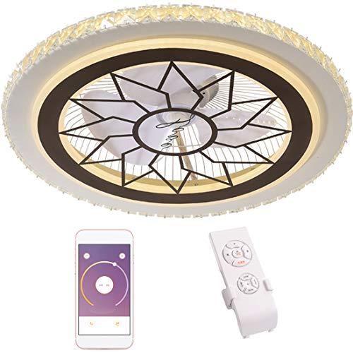 Dxyap Moderner Kristall Lüfterlicht, Schlafzimmerleuchte Deckenventilator mit Beleuchtung und Fernbedienung Leise, 62W LED Dimmbar Deckenlampe, 3-Speed Ventilator Kinderleuchte, mit APP, φ60cm