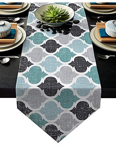 sunnee-shop 13X90INHoliday tafelloper, Marokkaans plaid, tafelkleedloper decoratie voor bruiloftsfeest, avondeten in huis, machinewasbaar, blauwgroen grijs geometrisch