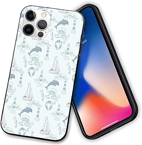 Funda compatible con iPhone 12 Series, Aquatic Elements Cute Dolphin con faro de barco de caballito de mar, TPU suave y delgado para iPhone 12 pro-6.1 pulgadas