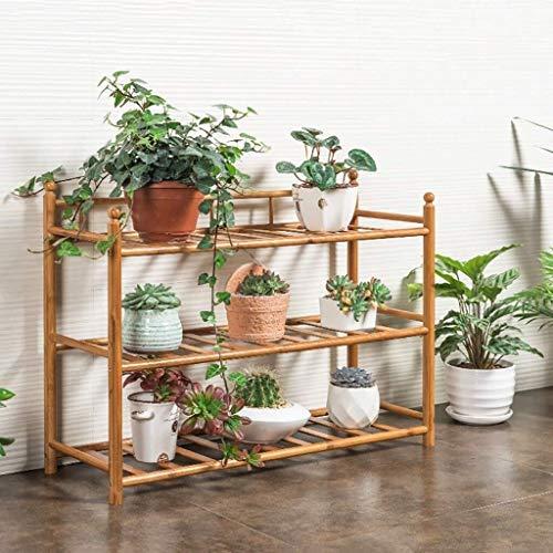 Kuur bloemenstandaard – opslag voor bloembak, bloemenbak, van hout, houder van bamboe, met houten houder, houder voor CD-standaard voor potten 1,9 70cm Kleur foto
