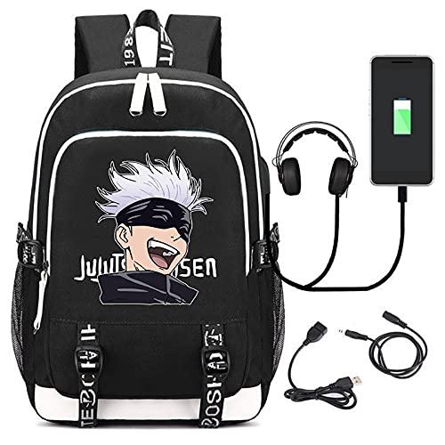 EDMKO Casual Mochila, Unisex Anime Jujutsu Kaisen Mochila Escolar Bolsa para Laptop Rucksack para Ordenador portátil con Estampado con Puerto de Carga USB Bolsa Multifuncional,C