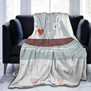 dsdsgog Soft Blanket Queen Size I Love You,Rabbit Couple Sailing on Boat in The Lake Valentines Partner Cartoon,Baby Blue Umber White,50