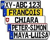 Satz Nummernschild Aufkleber (2 Stück) für vorne und hinten (Deutschland, ca. 13 x 2,7 cm) - Mit Name/Wunschtext