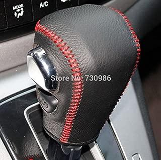 JI Black Genuine Leather Gear Shift Knob Cover for Honda CRV 2012 2013 2014 Automatic