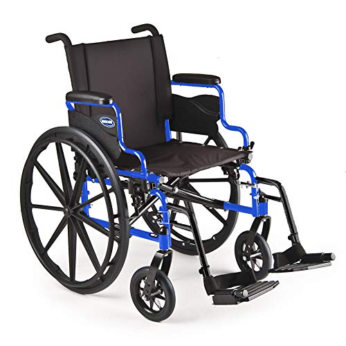 Invacare - ATO_9XT_WD86_17P_T93HA 9000 XT High Performance Lighter Weight Wheelchair, with Desk Length Arms and T93HA Footrests with Aluminum Footplates, 18' Seat Width, Cobalt Blue