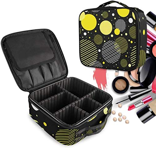 Cosmetische HZYDD Gele Cirkel Abstract make-up tas Toilettas Rits Make-up Tassen Organizer Pouch voor Gratis Compartiment Vrouwen Meisjes tas