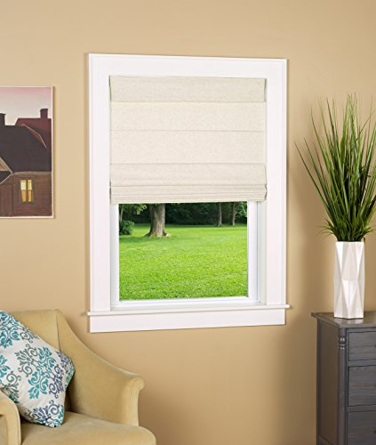 "Cordless Thermal Backed Top Down Bottom Up Roman Shade 30"" W x 64"" L - Color: Linen"