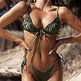 maozuzyy Bikinis Bañador Mujer Traje De Baño Floral Conjunto De Bikini De Vendaje Push-Up Traje De Baño Brasileño Traje De Baño Traje De Baño-Army_Green_S