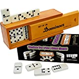 Dominoes Set for Adults - Double Six Domino Game - Domino Set 28 Tiles with Brown Wooden Case