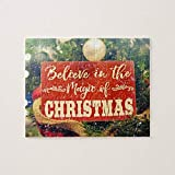 Christmas Jigsaw Puzzles, Believe in the Magic of Christmas Xmas TreeGraphic Jigsaw Puzzle Game with Posters for Adults Teens Kids Large Puzzle Game Toys Gift for Loves Family & Friends 50x75 CM