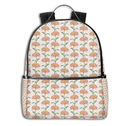 GULTMEE College-Rucksäcke für Damen, Mädchen, altmodischer Stil, Zeichnung von Chrysanthemen, Blüten und Blättern, lässiger Wander- und Reisetagrucksack Multicoloured-1 Einheitsgröße