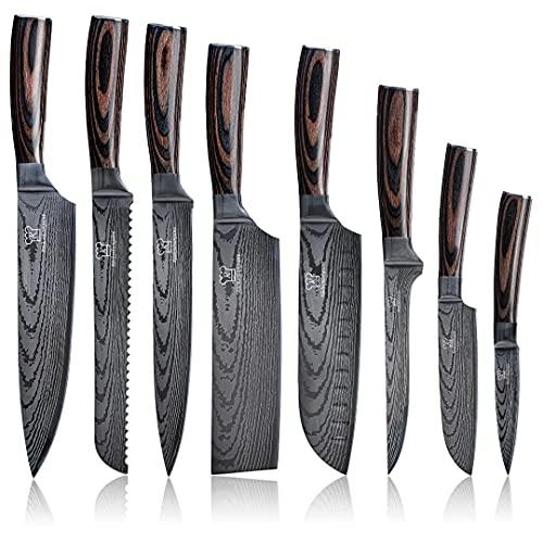 KÜCHENKOMPANE – Messerset Küchenmesser Japanische Messer – Asiatisches Messerset Premium – Elegantes Damast Design mit Pakka Holzgriff für Profi Hobby Köche und Chefkochs