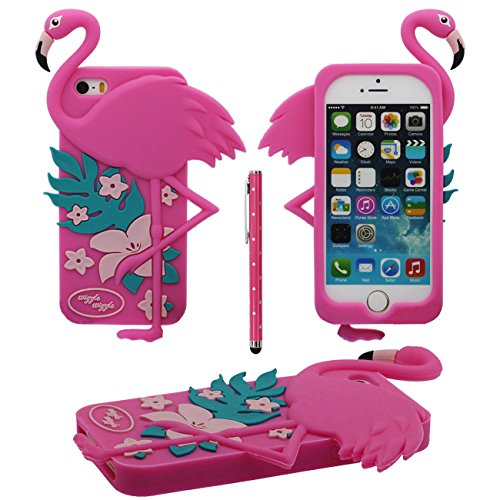 Desconocido 3D Creativo Animal Flamenco Forma Sauve Silicona Funda Carcasa Protectora Case para Apple iPhone 5 5S 5C iPhone SE con 1 Lápiz óptico - Rosa Caliente