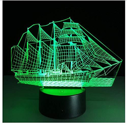 Veilleuses pour enfants Voile bateau de pirate 3D LED 7 couleurs Nouveau télécommande bureau chambre déco Noël Halloween cadeau d'anniversaire