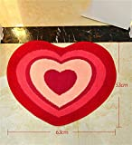 LLYDIAN Alfombra roja Creativa del Este de la Alfombra del pórtico de la Puerta de Entrada en Forma de corazón (Tamaño : 63x53cm)