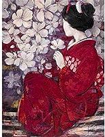 クロスステッチ刺繡キット日本人女性11CT刻印クロスステッチプレプリントパターンDIYニードルポイント手工芸かぎ針編みギフトキット(40x50cm)