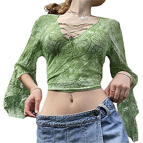 Xsylife Mujeres Sexy Ver a través de malla Cardigan T-Shirt Señoras Niñas Manga Larga Botón Abajo Encaje Crop Top Y2K E-Girl Streetwear, verde, L