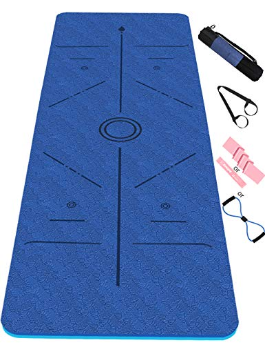 Esterilla Yoga Antideslizante,Esterilla Deporte Antideslizante con Línea Corporal Material ecológico TPE,Yoga Mat con Correa de Transporte y Bolsa183 * 61 * 0.6cm(Azul)