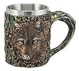 Ebros Totem Spirit Alpha Grey Wolf Tasse, strukturiert mit rustikalem Baumrinde-Design in bronzefarbener Oberfläche, 340 ml
