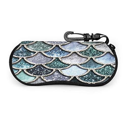 Funda para gafas con purpurina y diseño de escamas de sirena, resistente a los arañazos, portátil, para gafas de sol de viaje, ligera, con clip de gancho, unisex