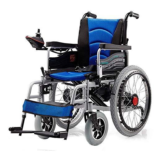 DLY Älterer Behinderter Zusammenklappbarer Tragbarer Rollstuhl, Leichtes 38 Kg, Sitzbreite 65 cm, Abnehmbarer Mobiler Stuhl mit Lithiumbatterie, Elektrischer Rollstuhl, Rot, Blau