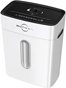 BONSEN Paper Shredder,8-Sheet Cross Cut Paper and Credit Card Shredders for Home Office Use, High Security Level P-4 Small Shredder with 4 Gallons Wastebasket and Jam Proof System, White (S3101-W)