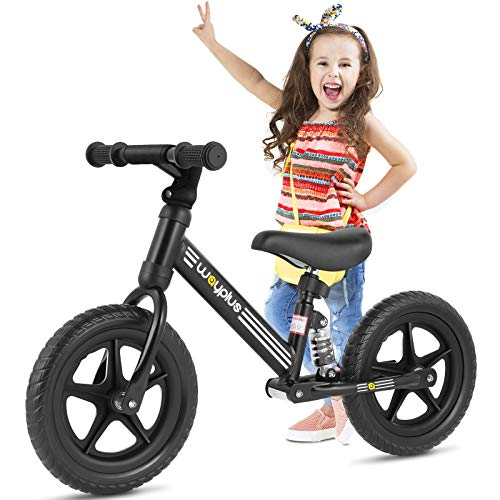 Wayplus Balance Bike-12'' Toddler Training Bike No Pedal Push Training Bicycle with Adjustable Seat for 3, 4, 5, 6 Years Old(Black)