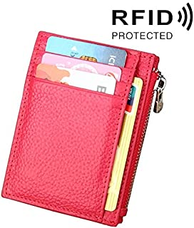 Decoration Cowhide Leather Solid Color Card Holder Wallet Zipper RFID Blocking Coin Purse Protect Case Card Bag, Size: 11 * 8 * 1.5cm Gift (Color : Magenta)