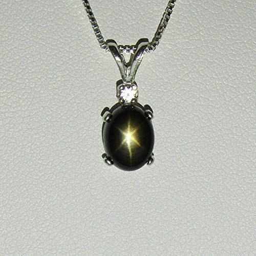 Genuine Black Star Sapphire Necklace/Oval-Shaped