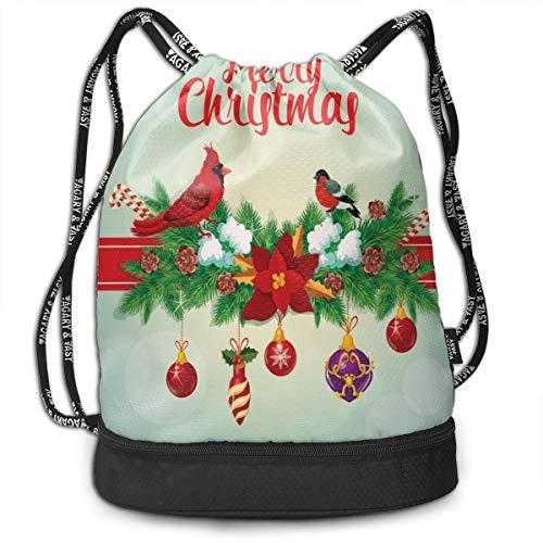 MLNHY Printed Drawstring Backpacks Bags,Festive Christmas With Hanging Baubles Garland Bullfinch Bird On Bokeh Backdrop,Adjustable String Closure