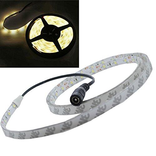 JnDee Warmweiss Warm White Leiste 1M 60 flexiable LED Strip Streifen LED Band Lichtlinie Wasserdicht/ 1 Meter mit 60 SMD 3528 LEDs DC 12V