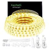GuoTonG 50ft/15m LED Lights Strip kit,Waterproof, 3000K Warm White,110V 2 Wire, Flexible,...