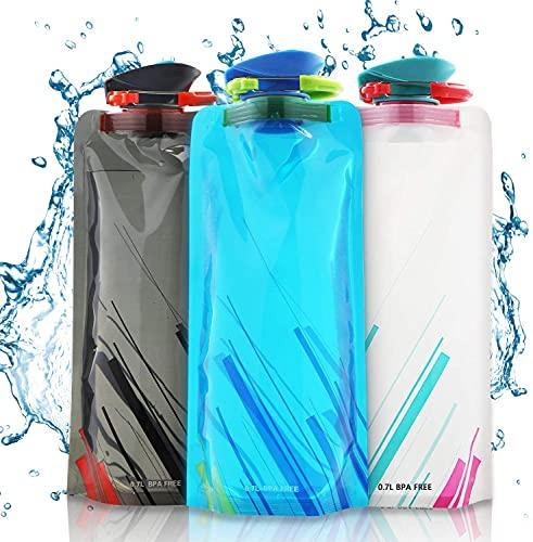 Sylanda Faltbare Wasserflaschen, Faltbarer Wasser-Flaschen-Satz von 3-700ML, Flexible zusammenklappbare Trinkflasche Wiederverwendbare Wasser-Flaschen für das Wandern, Abenteuer, das Reisen