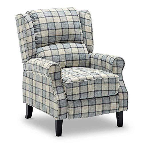 Sillón reclinable de tartán con respaldo ajustable y reposapiés retro, para el hogar, sala de estar