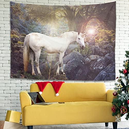 Wandlovers Fantasy Unicornio Tapiz de pared tradicional Gobelin decoración de pared esterilla de yoga blanco 4 230 x 150 cm