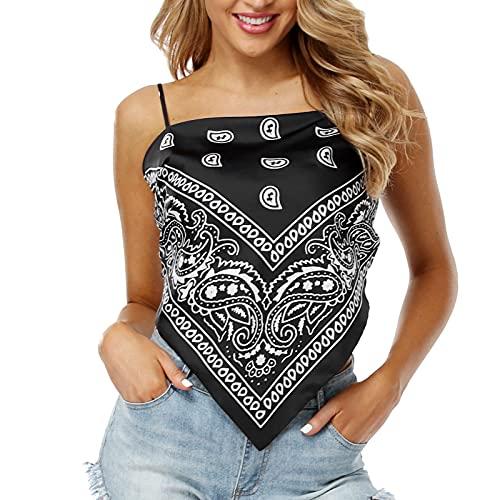 Lifetooler Tops de Mujer Tops de Bandana con Nudo en la Espalda Impresión Gráfica Backless Cami Crop Vest de Satén con Tirantes Ajustables Tank Top Y2k Streetwear(negro-L)