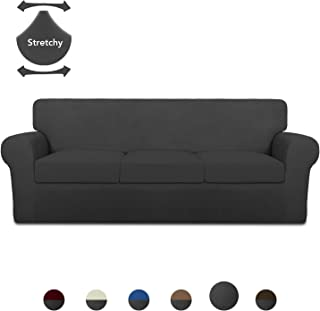 PureFit Mix & Match 4 Pieces Super Stretch Chair Couch Cover for 3 Cushion Slipcover – Spandex Non Slip Soft Sofa Cover for Kids, Pets, Washable Furniture Protector (Sofa, Dark Gray/Dark Gray)