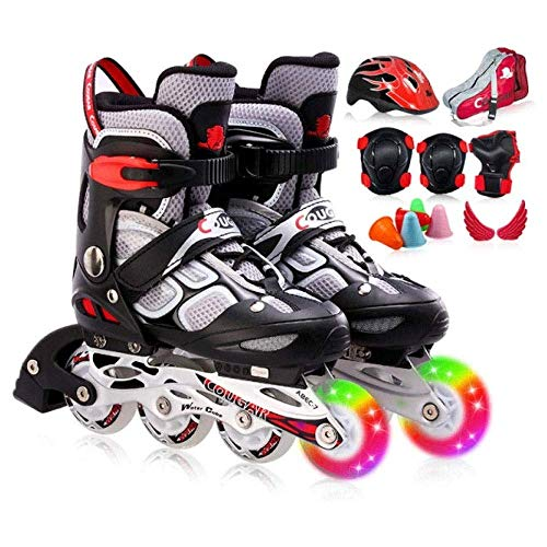 Taoke Einstellbare Größe Roller Skates, Unisex Kinder Inline Skates Indoor Outdoor, for Junge Mädchen (Farbe: A, Größe: 26-30) dongdong (Color : A, Size : 2630)